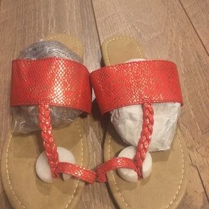 Red thongs sandals
